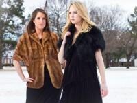 Rachael Mackin wears a vintage fur jacket and Julie Amundson wears a black shrug by Michael Kors.