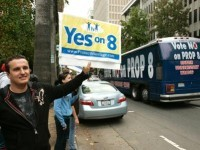This 2008 picture taken in Sacramento, Calif. shows the opposing views on Proposition 8.