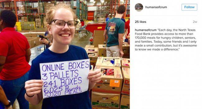 Instagram post of Kelly Kloff volunteering at the North Texas Food Bank