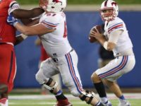 SMU quarterback Ben Hicks (right) drops back to pass in SMU's win vs. Liberty on Sept. 17, 2016. (Photo credit: SMU Football on Facebook).