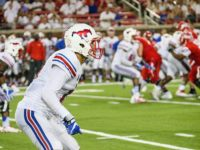 Jordan Wyatt (front) gets ready to cover a receiver in SMU's win vs. Liberty on Sept. 17, 2016. Photo credit: Mollie Mayfield