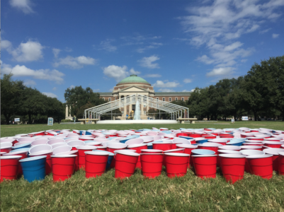 These red and blue cups represent sexual assault victims on college campuses. Photo credit: Kara Fellows