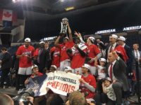 SMU raises the 2017 AAC Tournament Championship trophy (Photo credit: Reece Kelley Graham).
