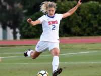 Sophomore Katherine Herron winds up for a kick Photo credit: SMU Athletics Website