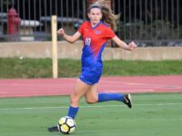 Blair Thorpe's second season goal brought the Mustangs to an early 1-0 lead over New Mexico State. Photo credit: SMU Athletics