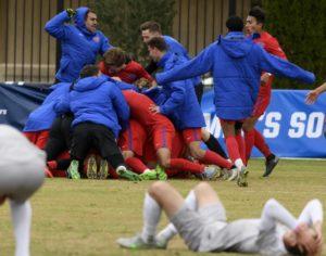 SMU celebrates its NCAA Tournament victory Photo credit: SMU Athletics