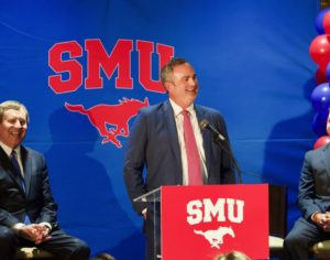 Sonny Dykes takes the stage as he is announced as SMU's next head football coach Photo credit: Shelby Stanfield