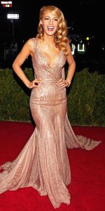 Blake Lively at the 2014 Met Gala in a sequined, nude Gucci gown. (Photo by Pinterest)