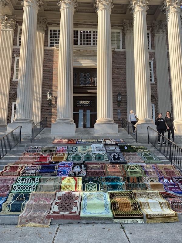 Prayer Rugs on Steps of Dallas Hall