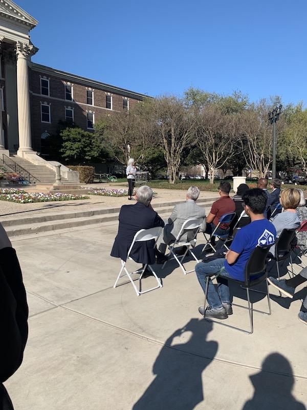 Speakers at community vigil