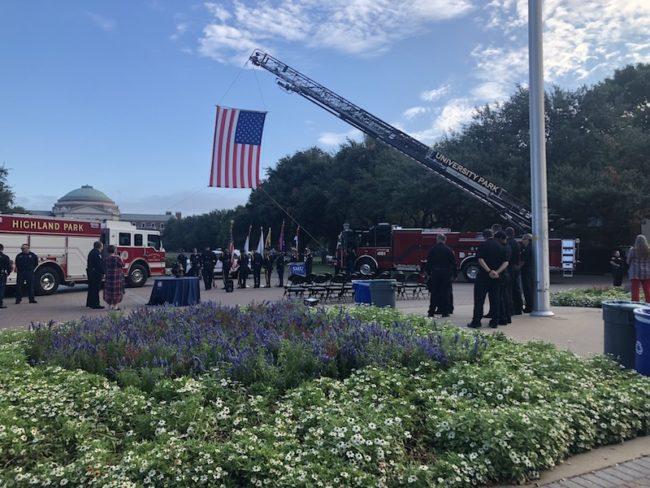Ladder Truck Hoisting 9/11 Flag