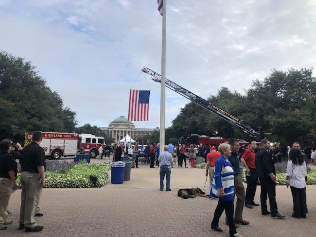 Ladder Truck Hoisting an American Flag
