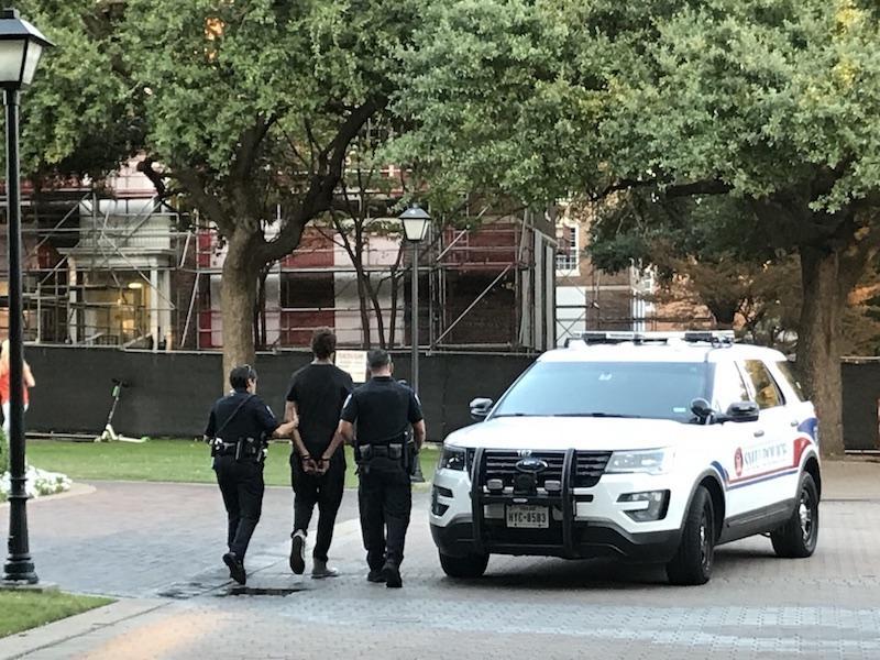 SMU PD Detains Two Men Near Flagpole