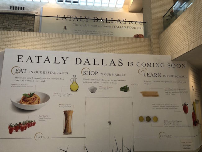 """Eataly Dallas storefront """"coming soon"""""""