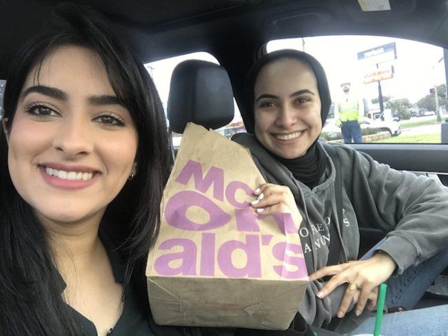 Sanaa with Michelle Aslam on a study break.