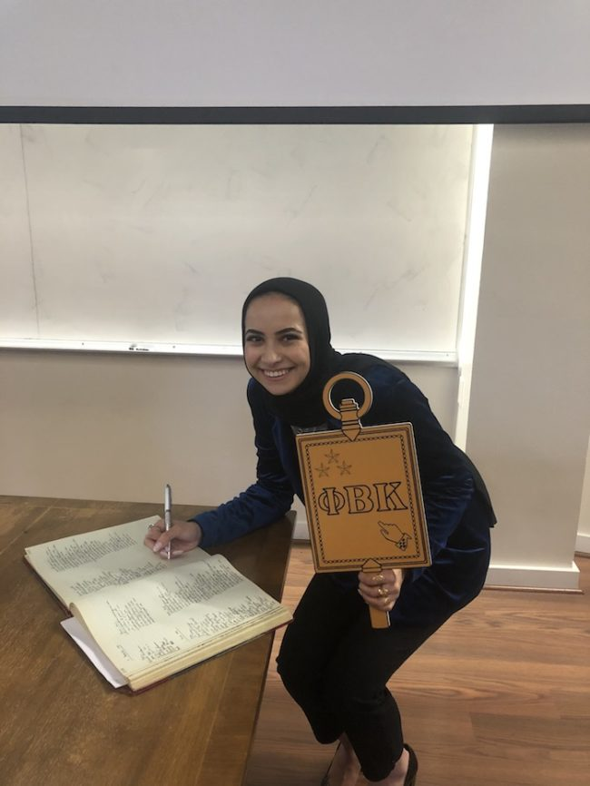 Sanaa joining Phi Beta Kappa, the oldest national honor society in the United States.