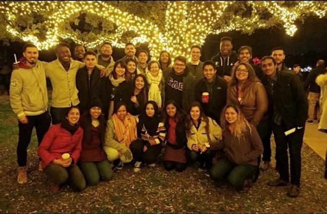 Pooja with members of Sigma Lambda Gamma and Sigma Lambda Beta during Celebration of Lights 2018, during her junior year.