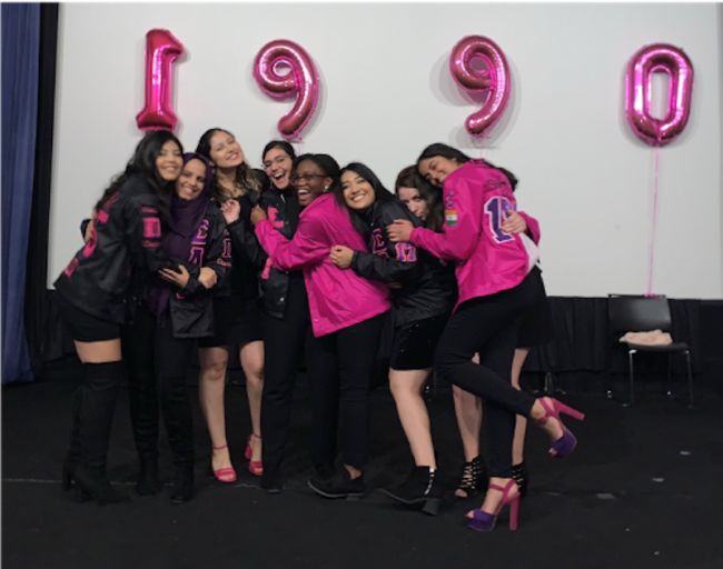 Pooja with her sorority sisters at the SLG New Member Presentation Fall 2019, during her senior year.