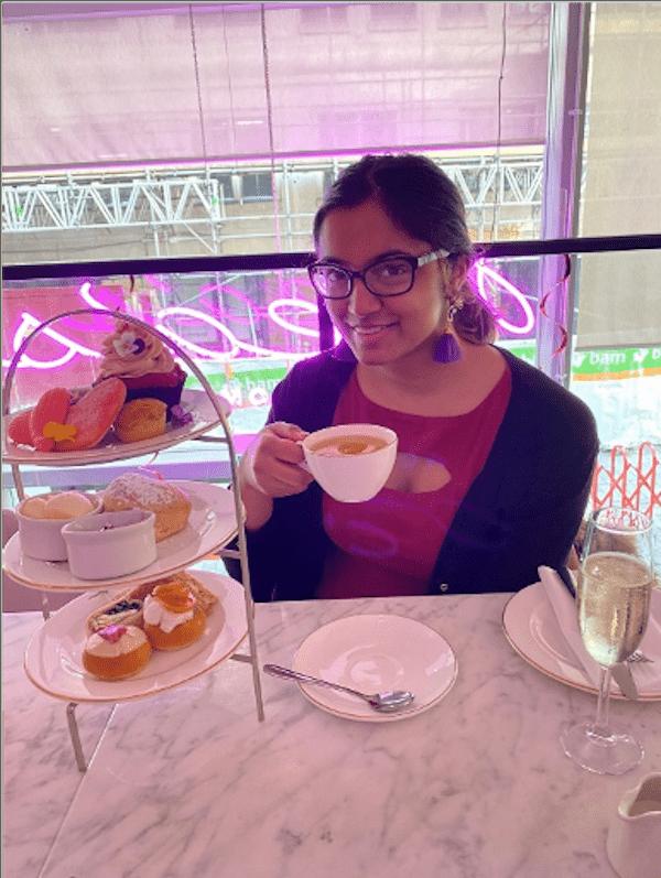 Pooja having afternoon tea in London.
