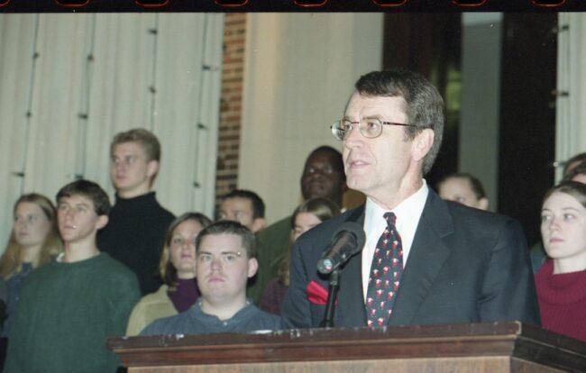 President Turner speaks at Celebration of Lights in 2001.