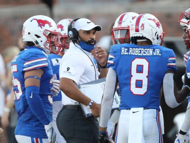 SMU wide receiver Reggie Roberson Jr. wears   Breonna Taylor's name on his helmet during an October game against Memphis. Courtesy of SMU Athletics.