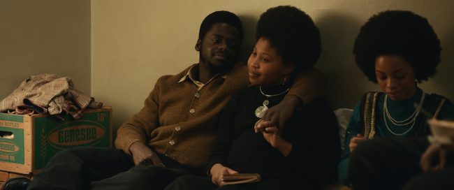 """(L-R) DANIEL KALUUYA as Chairman Fred Hampton and DOMINIQUE FISHBACK as Deborah Johnson in Warner Bros. Pictures' """"JUDAS AND THE BLACK MESSIAH,"""" a Warner Bros. Pictures release."""