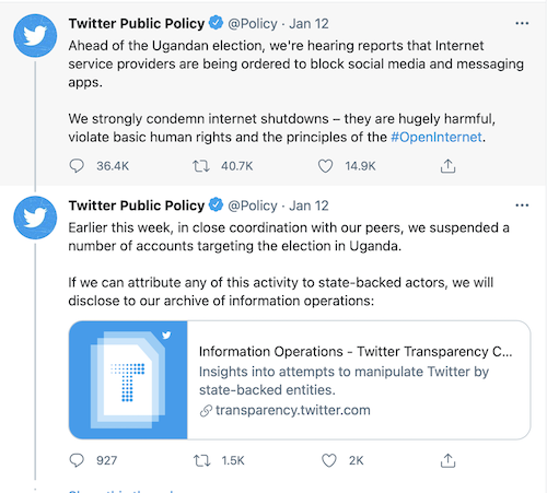 This image is a screenshot of the Twitter thread from the Twitter Public Policy account regarding the platform's response to Uganda's choice to shut down the nation's internet.