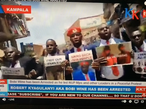 This picture is a screen capture of a YouTube video providing live coverage of protests in Uganda.  Men are marching and holding signs.