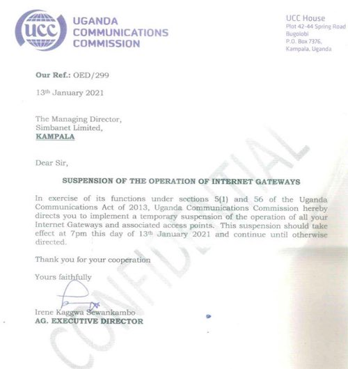This picture shows the formal document from the Uganda Communication Commission, calling for internet gateways to be shut down in the days leading up to the country's elections