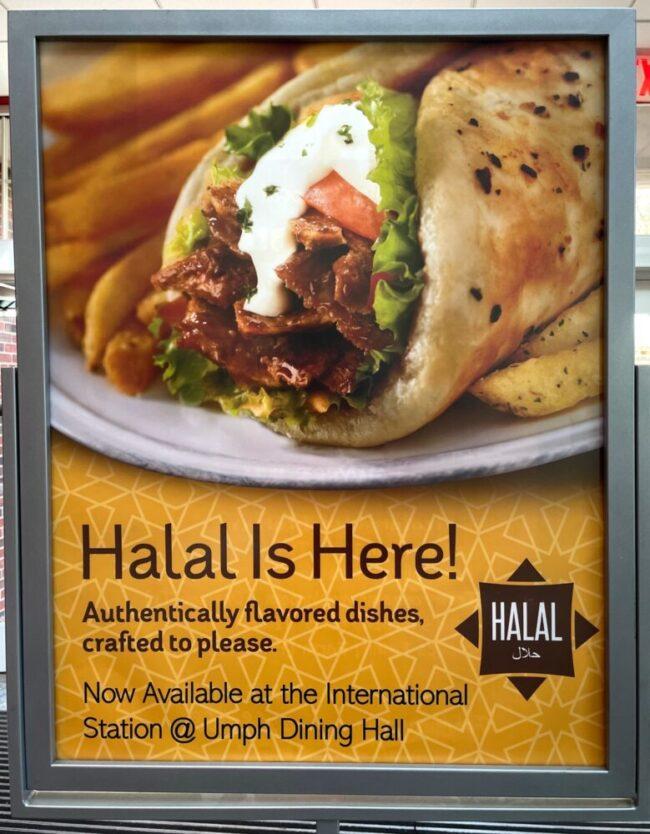 Halal food sign inside Umphrey Lee Dining Center.