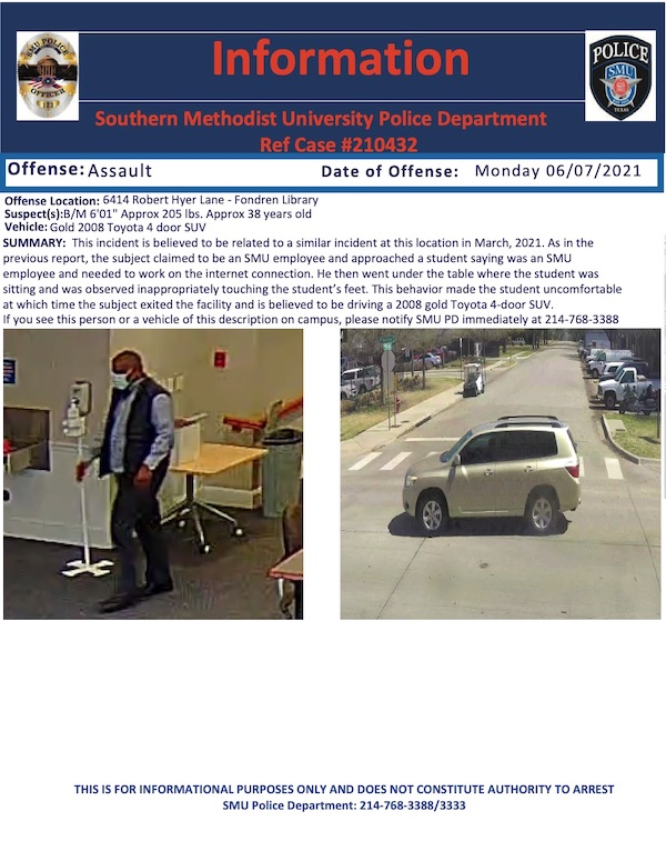 A police information flyer detailing the suspect and the incident
