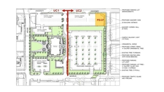 Blueprints of SMU's zoning plan changes to the existing commuter lot and rental residences. The plans include a new graduate school building and surface level parking lot.