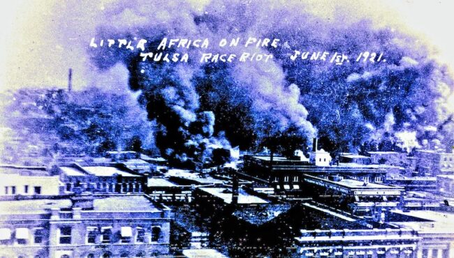 """A photograph captures the physical destruction of the 1921 Tulsa Massacre ;""""Tulsa Race Riots June 1921"""" by over 26 MILLION views Thanks is licensed with CC BY-NC-SA 2.0. To view a copy of this license, visit https://creativecommons.org/licenses/by-nc-sa/2.0/"""