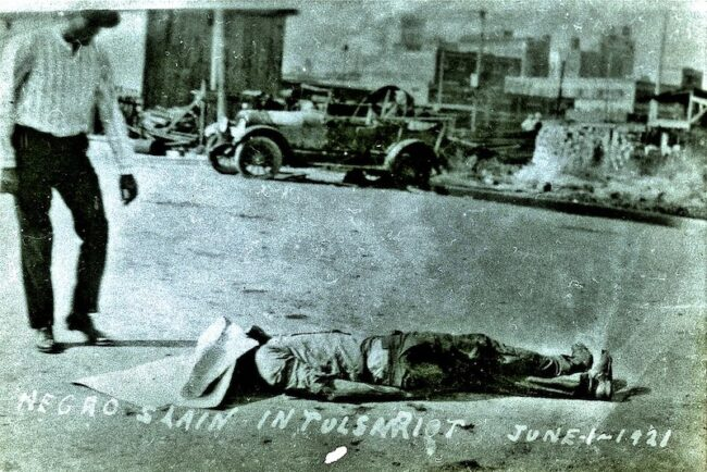 A Black man killed in the 1921 Tulsa Massacre is left on the street